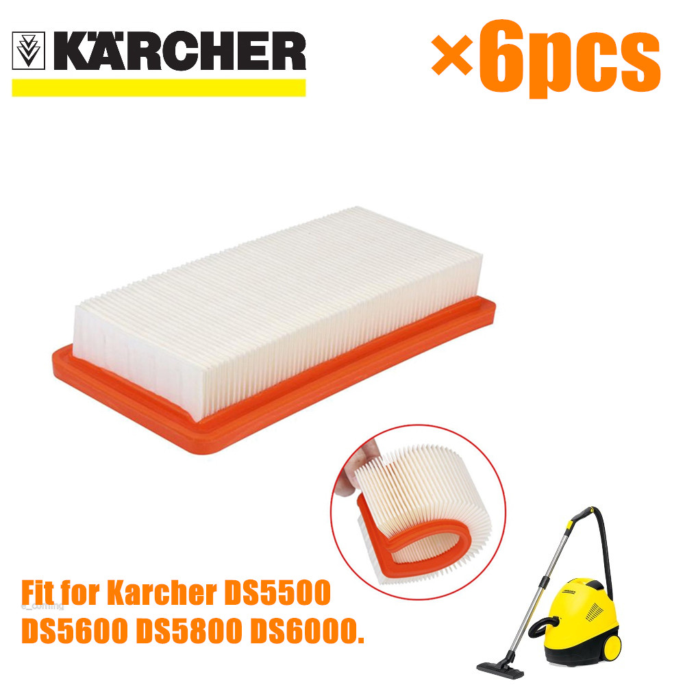 6 PCS Karcher HEPA Filter For DS5500 DS6000 DS5600 DS5800 Fine Quality Vacuum Cleaner Parts Karcher 6.414-631.0 Hepa Filters