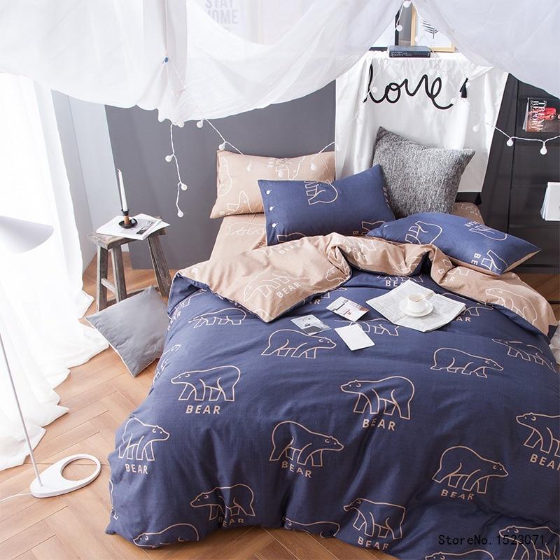 TUTUBIRD blue polar bear cartoon bedding set 100% cotton boy girls kids bed linen duvet cover home textile bedspread pillowcases