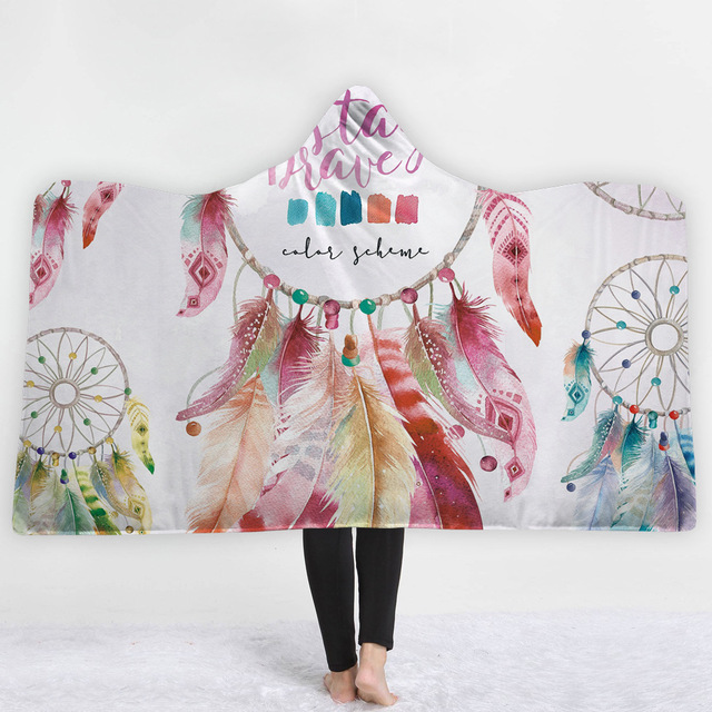 Dreamcatcher Feathers Hooded Blanket 1