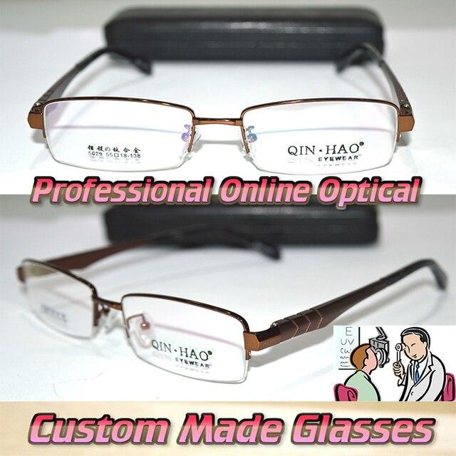 Оптическая на заказ оптические линзы титановый сплав half-диска карие радиально-подшипник ногу очки для чтения + 1 + 1.5 + 2 + 2.5 + 3 + 3.5 до + 6