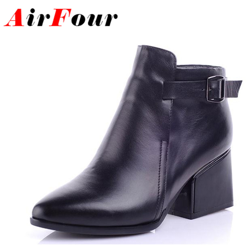 ФОТО Airfour New Autumn Winter Ankle Boots Women Low Heels Shoes Woman Buckle Pointed Toe Short Boots Black Motorcycle Martin Boots