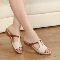 2016 mode Frauen Schuhe Aus Echtem Leder Hausschuhe Weiblichen Flachen Sandalen Casual Rutschfeste Flache Ferse Slip-On Laubsägearbeiten Ausschnitte