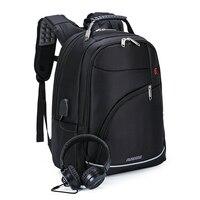 Nylon Laptop Backpack 16 Inch Schoolbag USB Charge Earphone Interface Men Notebook Backpack Travel Bag Large