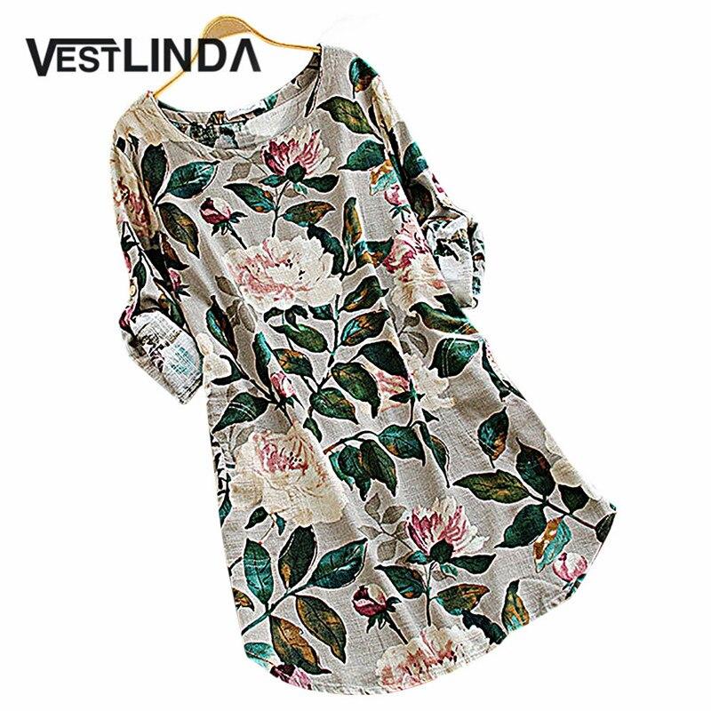 VESTLINDA Casual Floral Print Summer Dress 2017 Women Long Sleeve T Shirt Dress Vintage Straight Mini Dress Linen Femme Vestidos