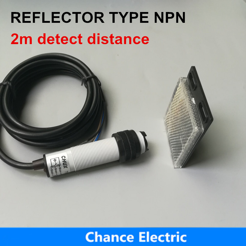 free shipping  2m detect distance photoelectric sensor switch eflector mirror type  npn no+nc (E18-3B2NC) free shipping 3 wire 2m distance reflector mirror type light ray infrared sensor photoelectric sensor switch e18 3b2pa