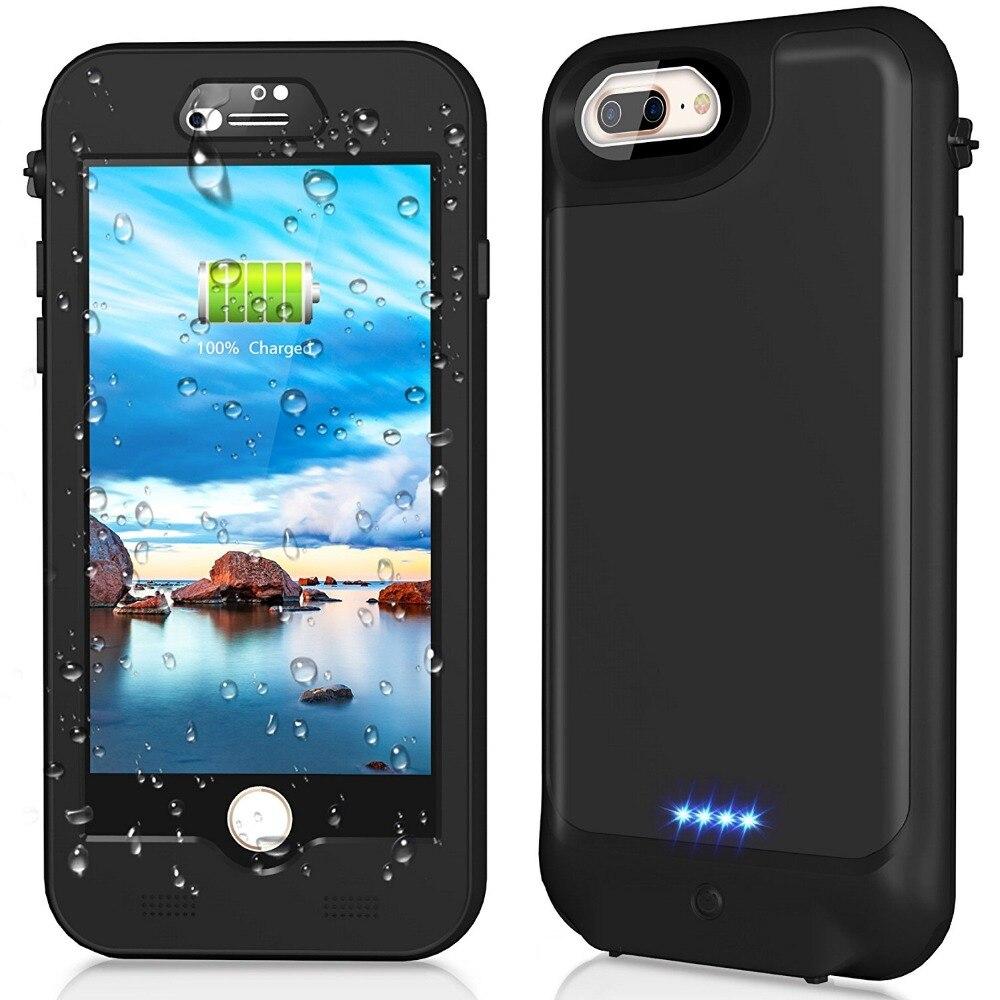 Pour iPhone 7/8 Plus étui étanche Ultra mince 3000 mAh batterie externe boîtier étanche couvercle de chargeur de batterie pour iPhone 7 Plus