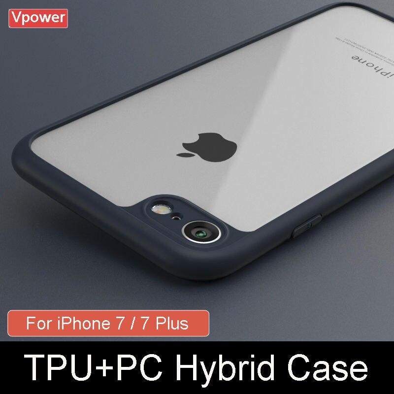 Чехол для iPhone 7 7 Plus крышка Vpower Роскошные TPU + PC Гибридный  прозрачные телефонные чехлы для Apple iPhone 7 Plus задней обложки  Бесплатная доставка ... 9ccbfc46a9437