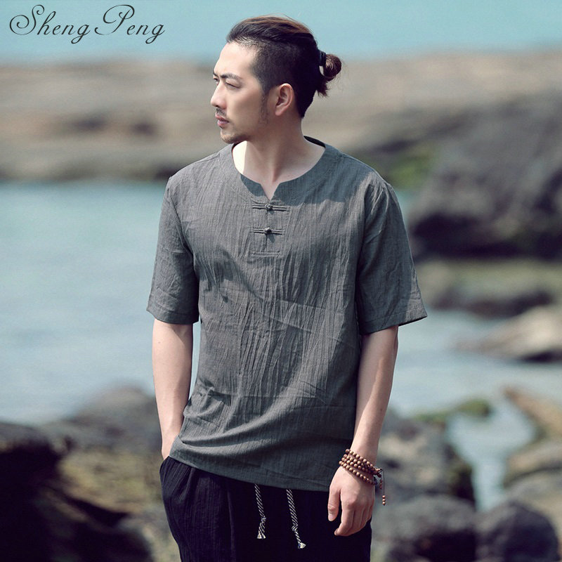Manches courtes tang costume top hommes kung fu tai chi uniforme chemise blouse traditionnelle chinoise vêtements pour hommes CC124