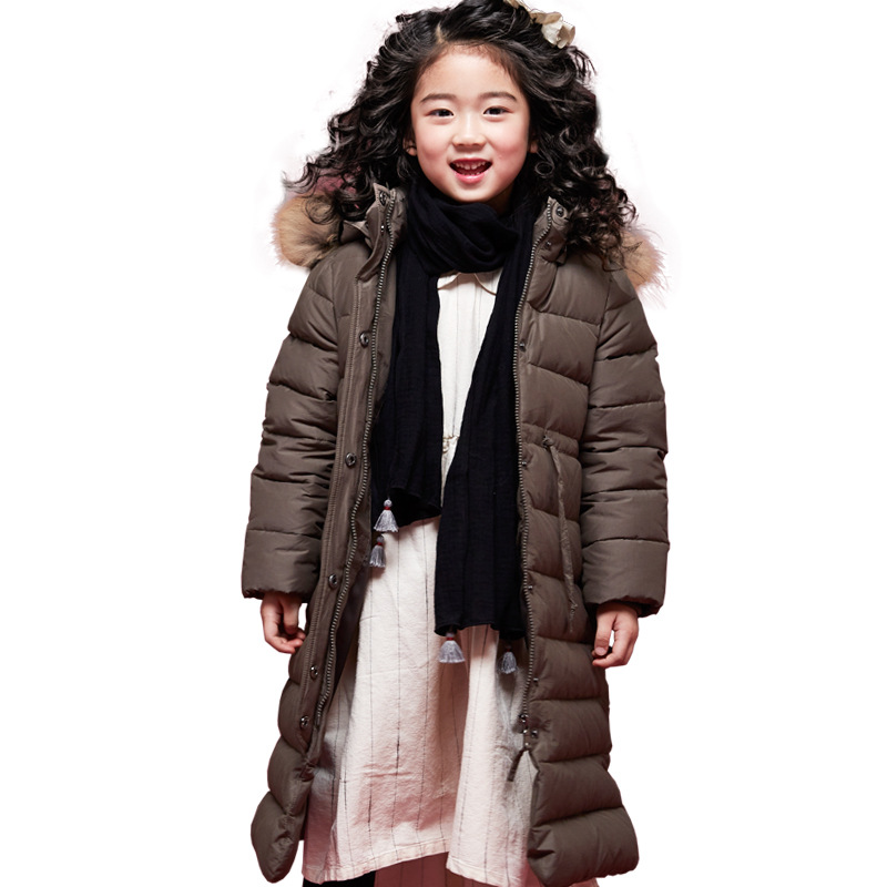 цена на Girls Down Coat Lengthened Over Knee Hair Collar Winter Middle and Large Childrens Down Jacket White Feather Princess Downjacket