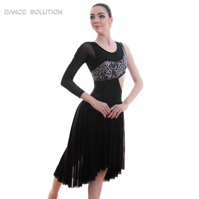 Black Bodice Ballet Costume Lyrical Contemporary Dance Dress Mesh