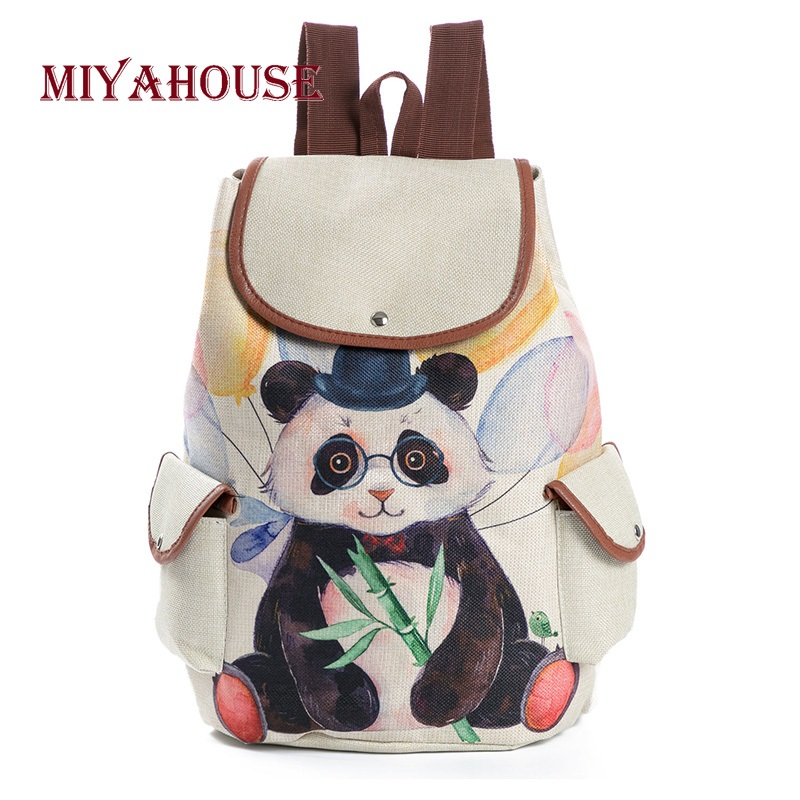 Miyahouse Hot Sale Linen Material Cartoon School Backpack Female Cute Panda Printed Drawstring Travel Rucksack Women hot sale girls boys cartoon children school bags cute drawstring masha