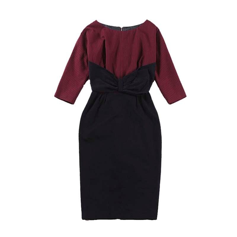 Le palais vintage classique trois quart manches chauve-souris couleur bloc robe Slim taille haute arc décor épaissir robe 2019 printemps