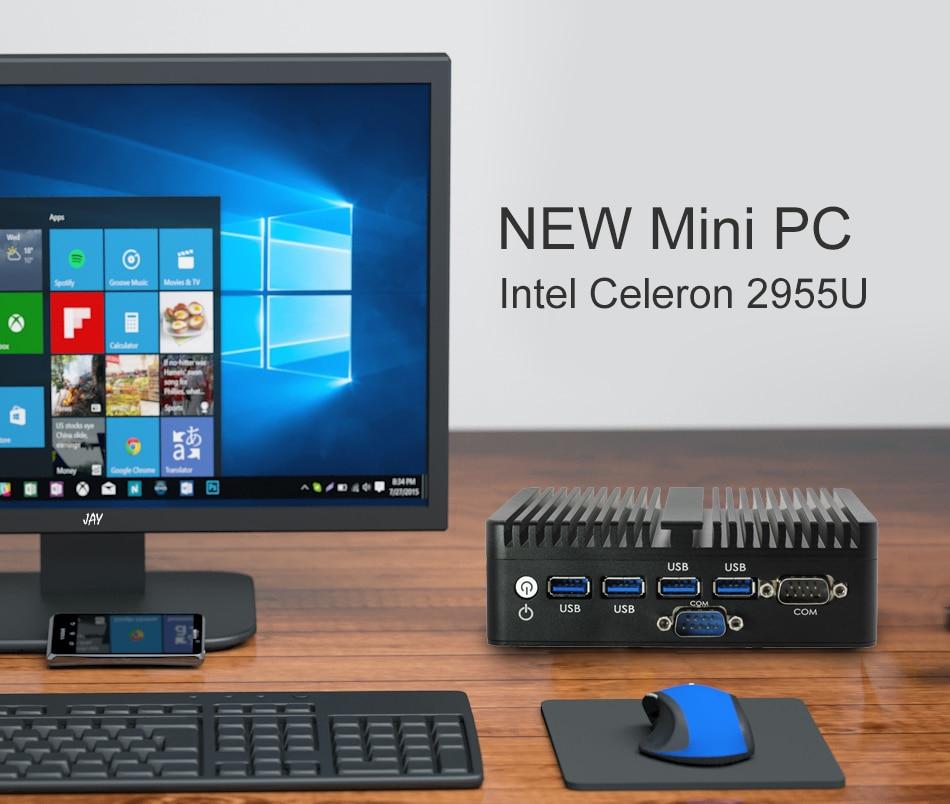 Image 3 - Промышленный мини компьютер Intel Celeron 2955U Windows 10 Linux без вентилятора, микро ПК 2 * HDMI 2 * Gigabit LAN 2 * RS232 WiFi 4 * USB3.0 HTPC-in Мини-ПК from Компьютер и офис