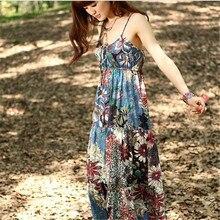 2017 Summer Beach Boho Dress Sling Spaghetti Strap Vintage Floral Print Maxi Dress Women Cotton Sexy Long Dresses vestidos
