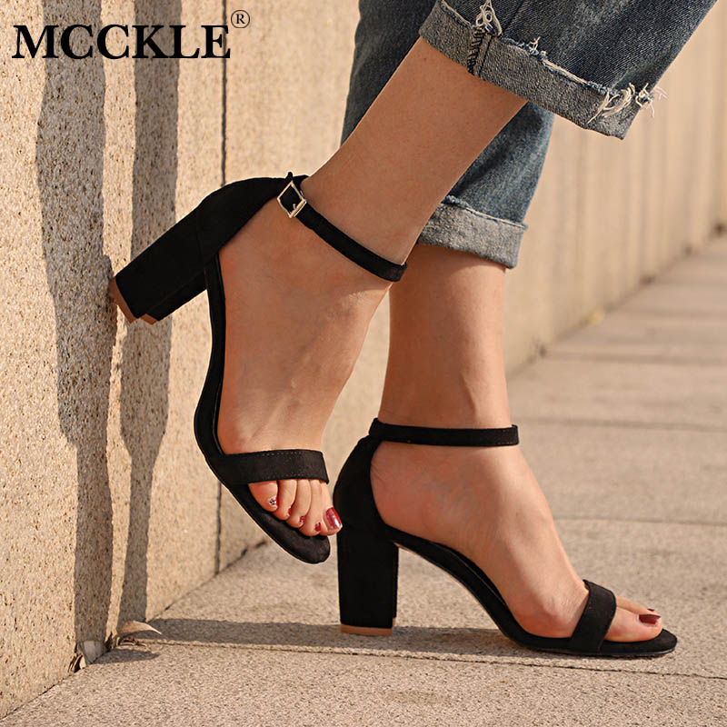 MCCKLE Chunky Heel Women Ankle Strap Gladiator Sandals Women's Summer Shoes Fashion Female Sandilas Cover Heel Flock Party Shoes