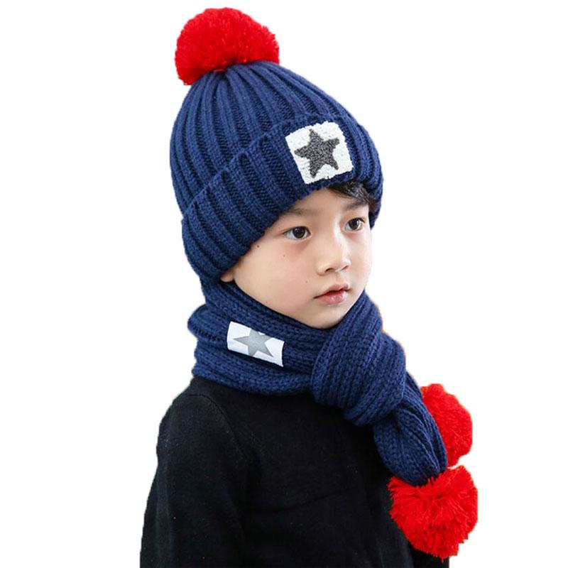 Winter Hat And Scarf Set For Children Girls Kids Cap Scarves Boys Star Design Knitted Pom Pom Beanie Velvet Cap Warm 2 Pcs Suit