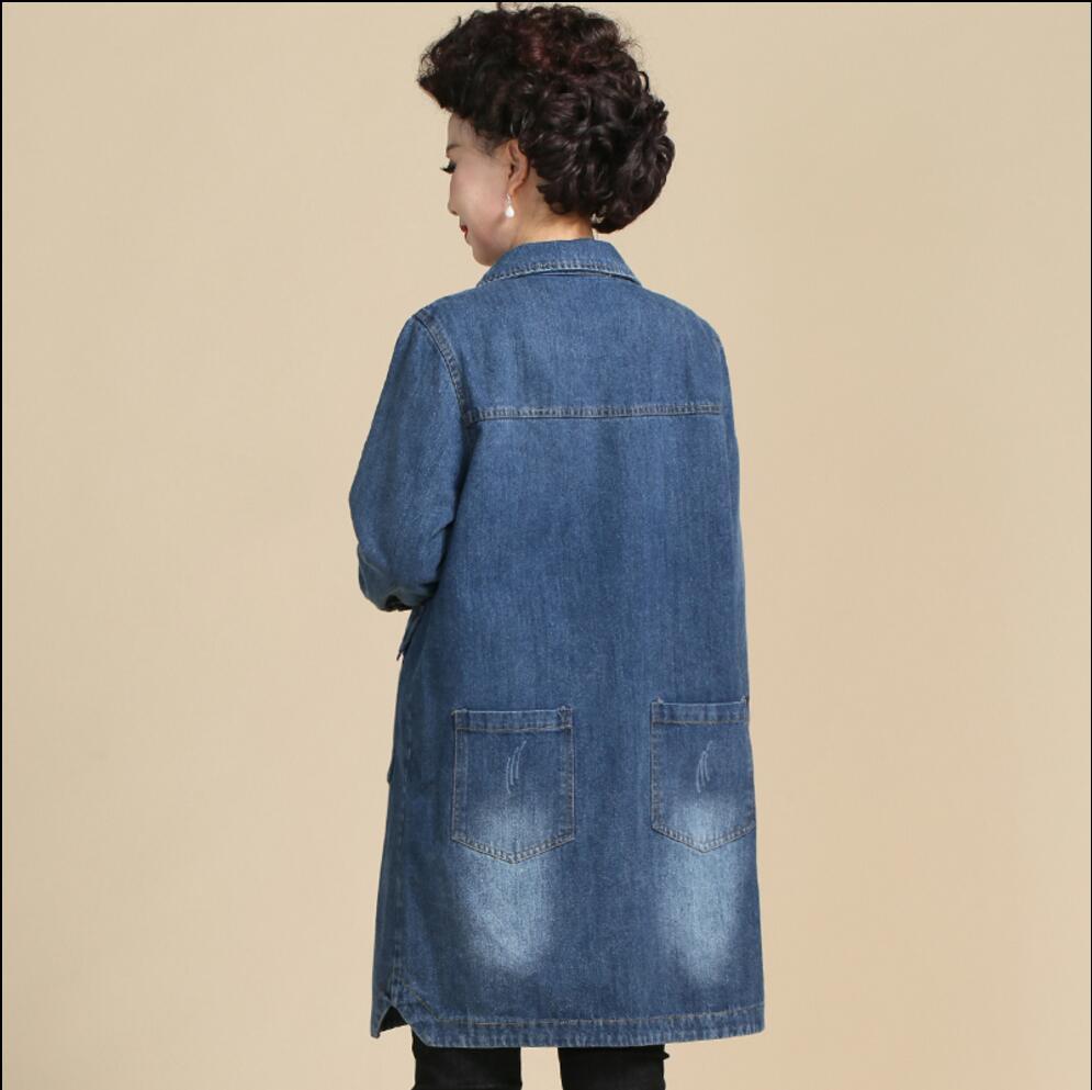 Manteau D'âge Coupe Bleu Printemps Cowboy Section Nouveau Grande Xl Mince Longue Lâche Mère 5xl vent De Taille Denim Vêtements Moyen Femmes Occasionnel 5RLjq34A