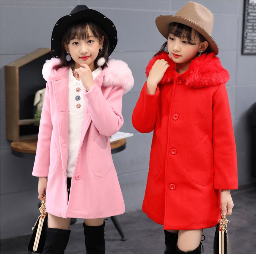 Children's Woolen Coat New 2018 Winter Jacket For Girls Long Fashion Fur Collar Hooded Clothes Girls Pink Red Blue elegance princess winter wool coat 2016 new fashion fur stand collar overcoat winter warm jacket for girls pink red 120 160cm