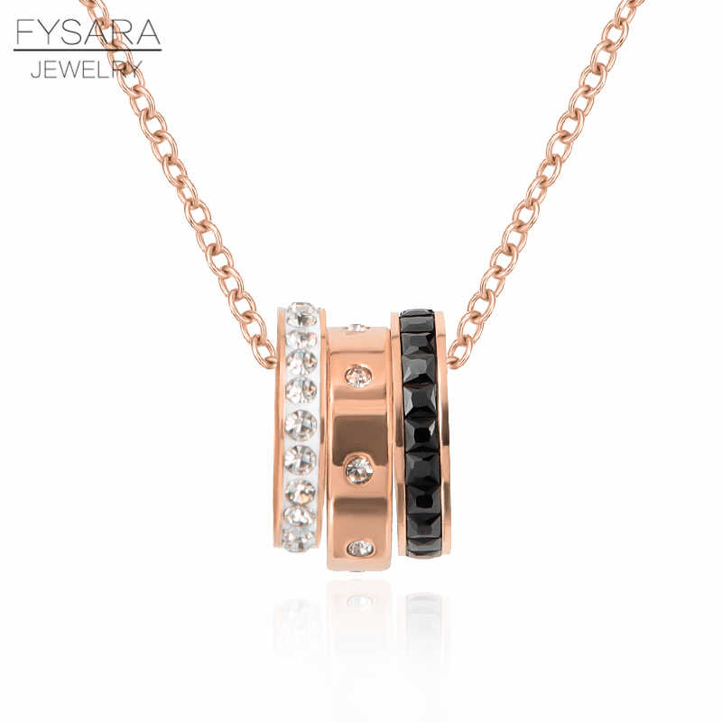 FYSARA Shiny Cubic Zirconia Crystals Three Round Cricles Necklace For Women Luxury Love Short Statement Necklace Stainless Steel