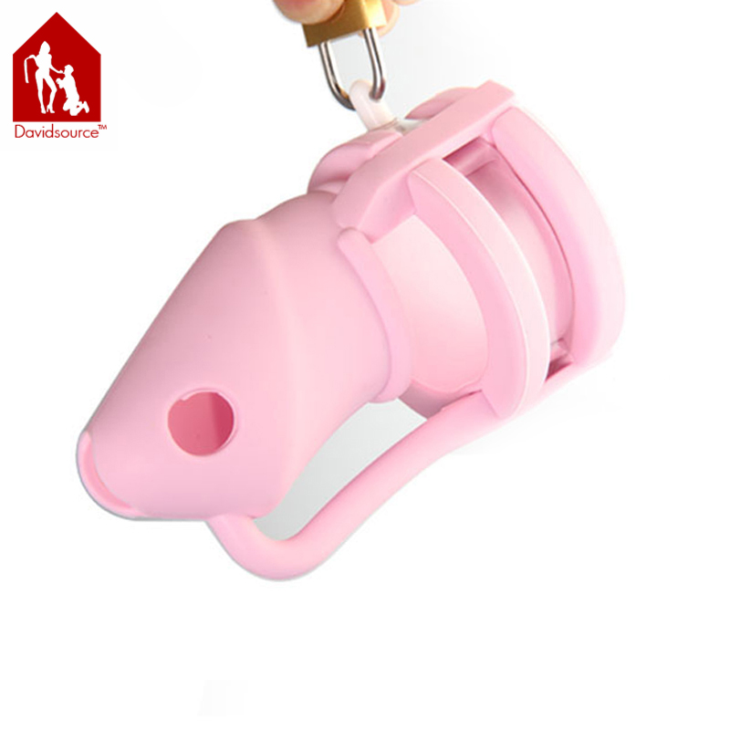 ФОТО Davidsource Pink Silicone Cock Penis Cage Pubic Enemy Virginity Lock Male Penis Torture Kit  Fetish Men Sex Toy