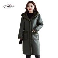 Female Leather Jacket 2018 New Winter Long Sleeve Hooded Causal Loose Coat Faux Suede Wool Keep Warm Medium Long Women Jackets
