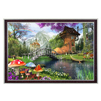 2016 Needlework DIY DMC 14CT Unprinted Cross Stitch Kit Old Shoe House Pattern Embroidery Landscape Cross