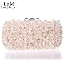 Weiß Blumen Abend Handtasche Edle Damen Perle Hochzeit Gekleidet Kupplung BagsRhinestone Bogen Mini Geldbörse bolsos mujer XA40H