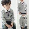 2016 nuevos muchachos primavera y otoño suéter de moda niños de guapo estilo de inglaterra prendas con corbata suéter con cuello en v, C187