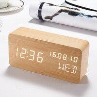LED Digital Alarm Clock Wooden Sound Control Kids Table Clock Backlight Calendar Week Desk Clocks LED Electronic Desktop Watch