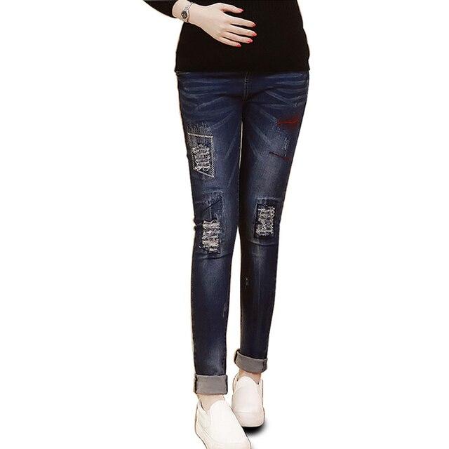 Беременные женщины брюки леггинсы тонкий срез джинсы брюки Для Беременных Брюки уход живота брюки Осень