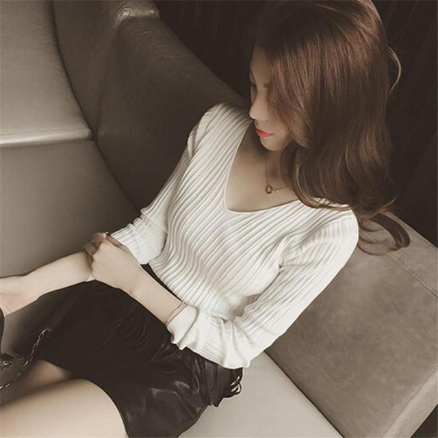 Autumn Knitted V Neck Sweater Fashion Solid White Pullover Women Tops Slim Long Sleeve Pull Street Wear