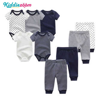 9PCS/LOT Newborn Baby Clothes Sets 100% Cotton Rompers+ Pants Baby Jumpsuit Girl Clothing Pants Ropa Bebe Toddler Clothing Sets - Category 🛒 Mother & Kids