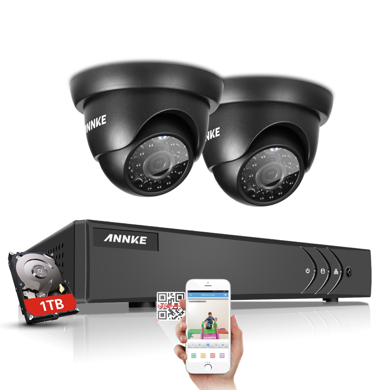 ANNKE 1080N TVI H.264+ 4CH DVR 1500TVL 2pcs 720P In/Outdoor IR Security Camera System annke 8ch 720p 1500tvl cctv system 8pcs 720p ir outdoor security cameras 8ch 1080n 4in1 dvr kit cctv surveillance system