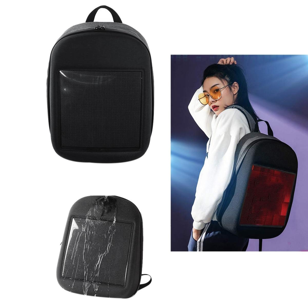Novo inteligente led mochila legal preto customizável