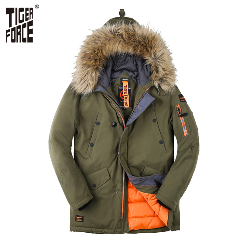 TIGER FORCE Men Padded   Parka   Artificial Fur Hooded Winter Coat Men Fashion Casual Coat Thick   Parkas   Water Repellent Jacket