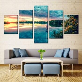 5 панелей пейзаж картина маслом Печать на холсте морской пейзаж настенная живопись для современного дома высокое качество бескаркасные инд