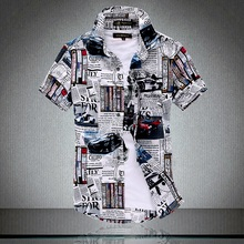 Short Sleeve Shirt Summer New Mens Fashion Casual Print Large Size Cotton Button Slim