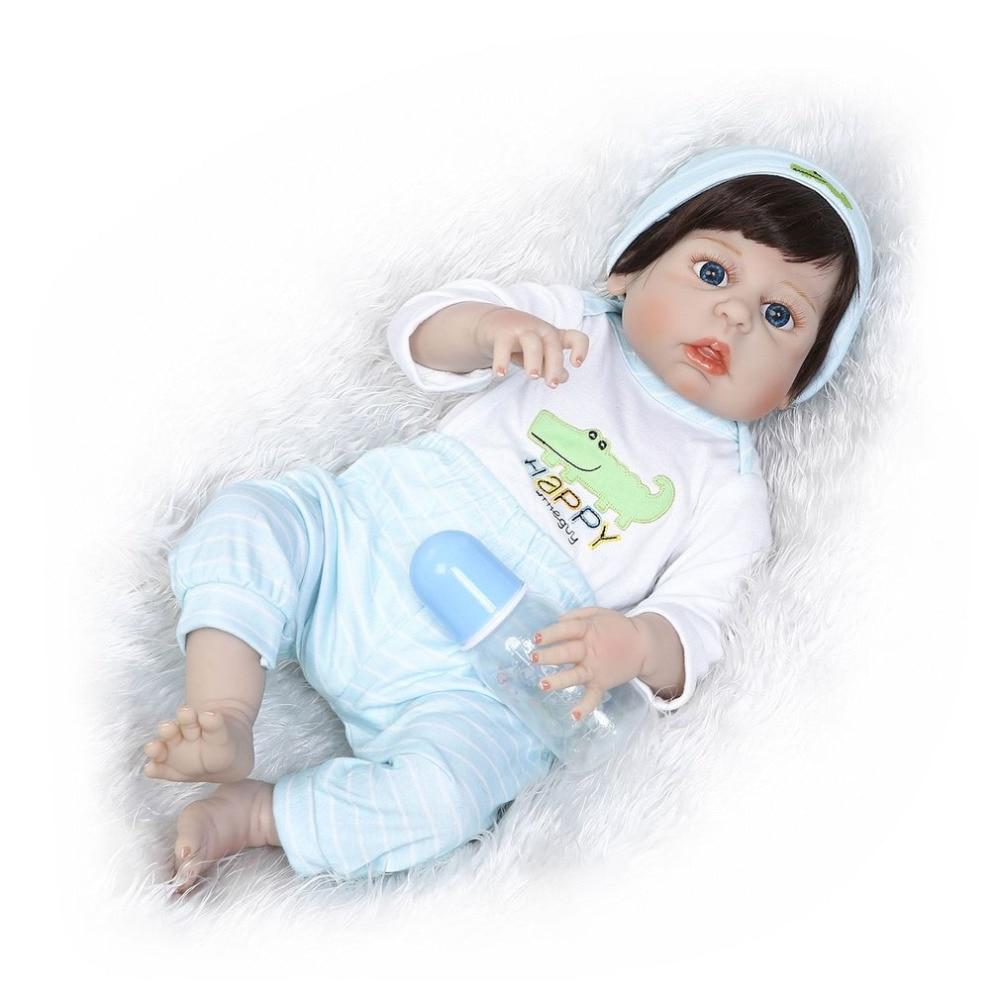 купить baby born 56cm Reborn Baby Doll Full Body Soft Silicone Vinyl kids Playmate Gift Toys Handmade Lifelike Toys Doll Bebe Reborn по цене 5321.73 рублей