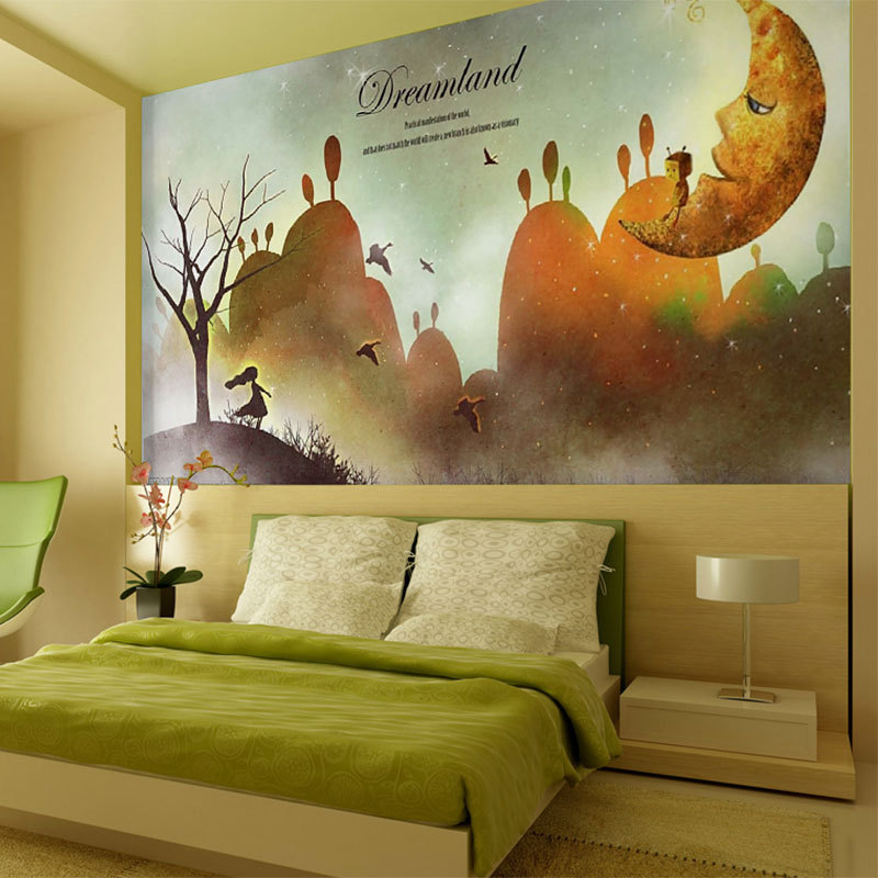 beibehang painting canvas pattern kids room decorative wall covering ...