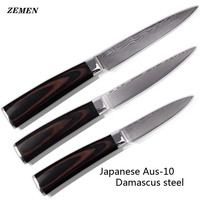 ZEMEN Damascus Knives With Color Wood Handle 5 Utility 4 5 Utility 3 5 Paring Knife