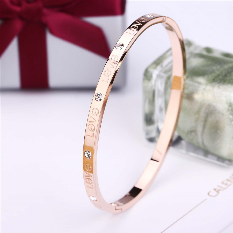 ZINDOV Fashion Love Bangles For Women Stainless Steel PVD Gold Silver Rose Gold Brand Jewelry Gift