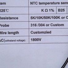 10 шт. водонепроницаемый ntc датчик температуры ntc 1 К зонд 5*25 мм Медная головка ntc 1 К Датчик 3470 1% 1 м Термистор NTC датчик