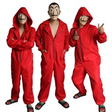 Free shipping adult la casa de papel Daly conjoined Spanish film original edition cosplay custume jumpsuit hoodies with mask