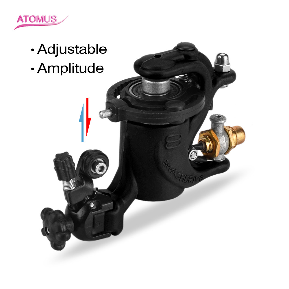 ATOMUS Black Plastic Rotary Tattoo Machine Adjustable Liner And Shader Double Clip Cord Heavy Rotary Machine For Tattoo Supply