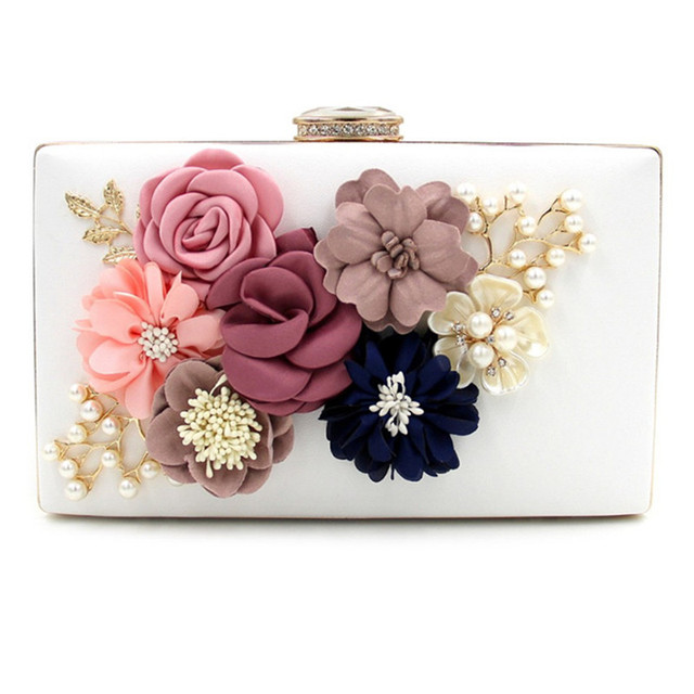 3 Color Famous designer PU evening bag Three-dimensional flowers PU party bag purse handbag clutches bags free shipping