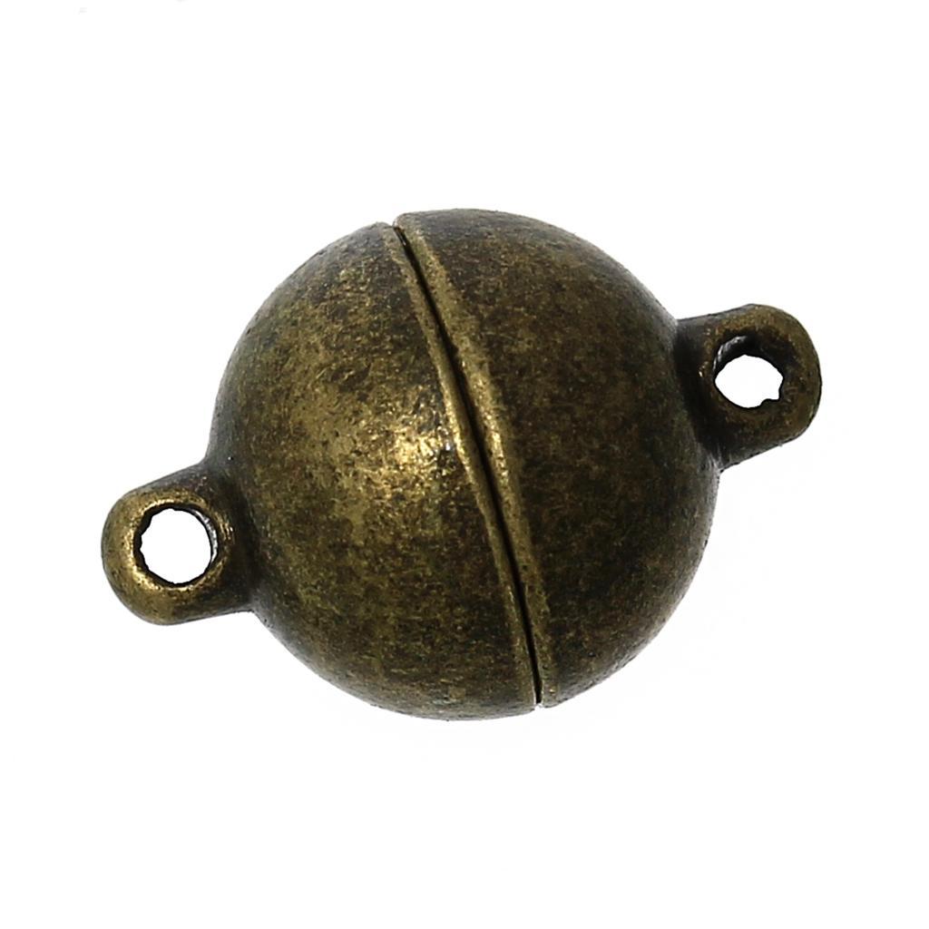 Zinc Metal Alloy Magnetic Clasps Round Antique Bronze 14mm( 4/8