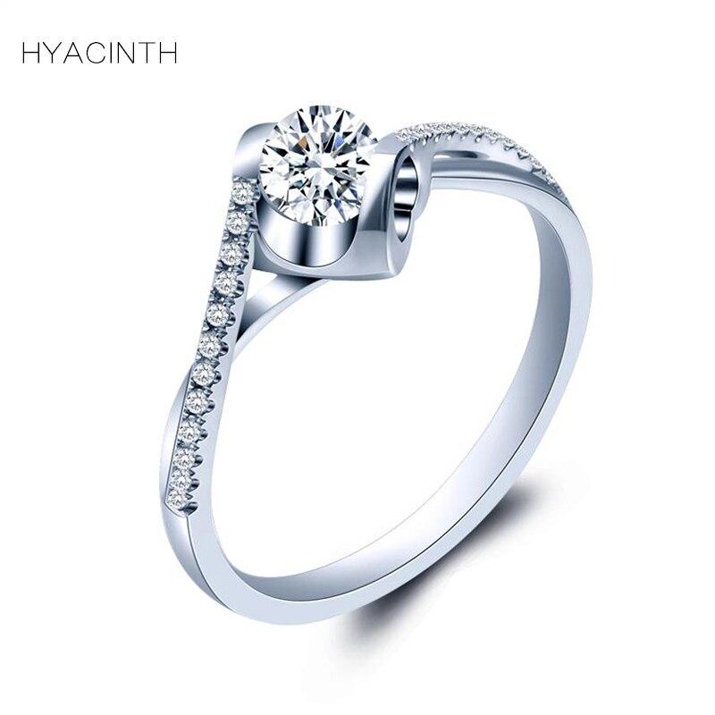 Гиацинт Кольца с алмазами для Для женщин модные аксессуары 2018 ювелирные изделия 18 К тонкой бриллиантовое кольцо Для женщин s ювелирные изде