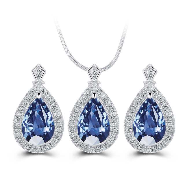 17KM Fashion Blue Crystal Water Drop Jewelry Set Necklace set African Beads Charms Maxi Earrings Statement  Wedding Jewelry Set