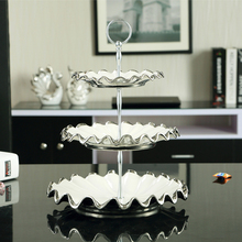 Europe silver Inlay Bone China Double Triple Decker Dishes And Plates Cake Pastry Fruit Porcelain Dish Ceramic Tray Party Decor