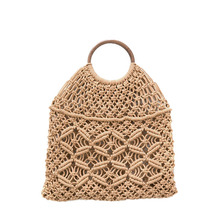 Nets bag beaded shopping beach hollow out handbag women Weave casual fold over white brown wholesale drop shipping